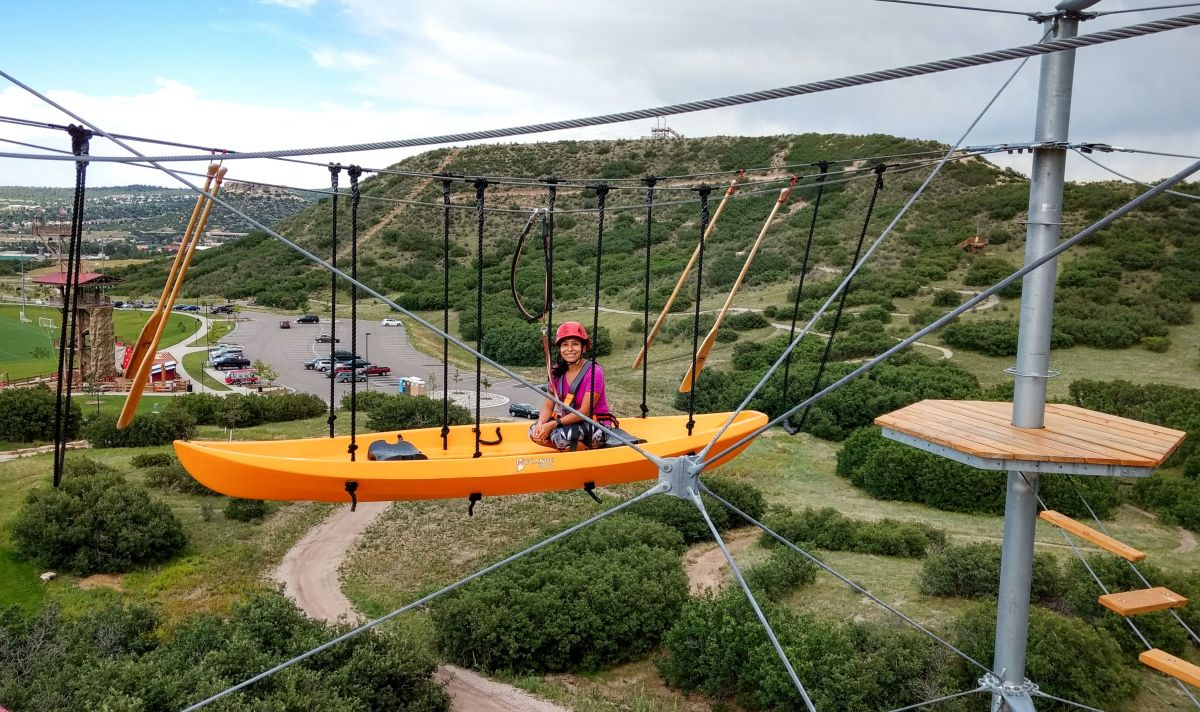 Sitting in a kayak high in the sky at Castle Rock in Colorado